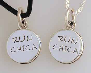 """RUN CHICA"" Engraved on Small Disc Pendant/Charm"