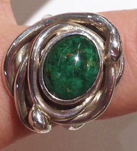 Sterling Silver, 10mm x 12mm Chrysacolla Ring