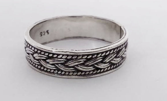Woven Braid Design Silver Band, by Rubini Jewelers