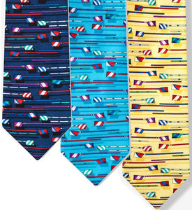 Men's Silk Necktie with Rowing Oars