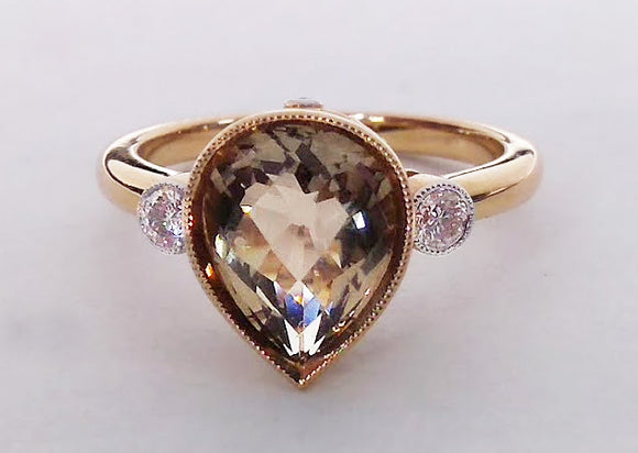 Pear Shaped Smokey Quartz & Diamond Gold Ring, by Rubini Jewelers