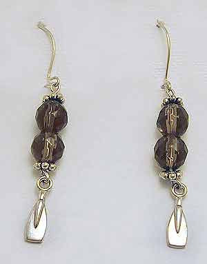 Smokey Quartz & Mini Blades Dangle Wire Earrings