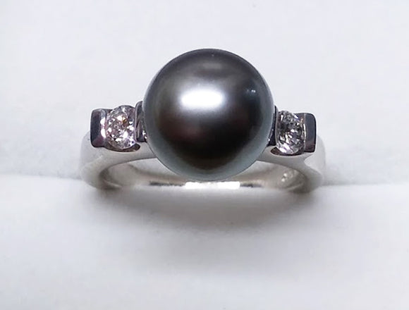 Tahitian Pearl and Two Diamonds in White Gold Ring, by Rubini Jewelers