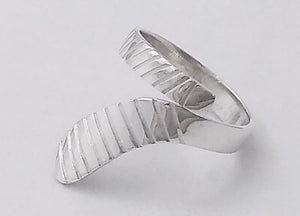 Extra Large Ice Hockey Stick Wrap Ring Sterling Silver, by Rubini Jewelers