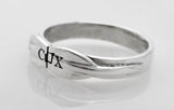Sterling Silver Two Rowing Tulip Blades Band with COX Engraved on it Ring by Rubini Jewelers