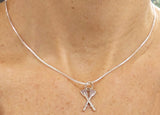 Sterling Silver Medium Crossed Oars Rowing Pendant by Rubini Jewelers