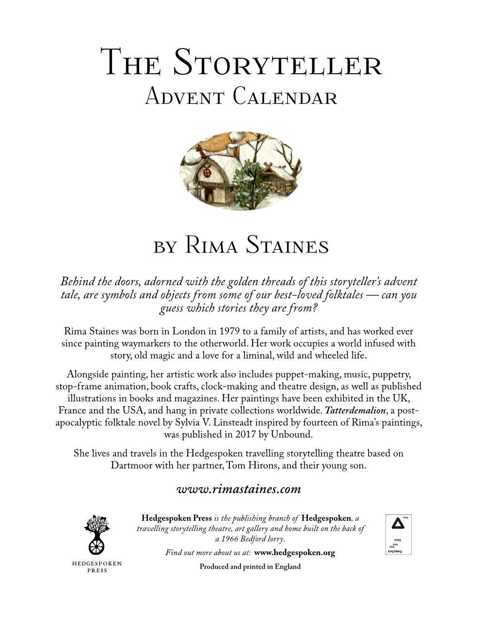 Reverse of 'The Storyteller' advent calendar by Rima Staines from Hedgespoken Press - preview