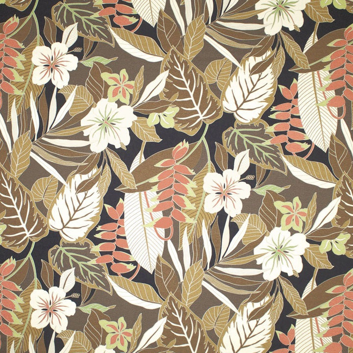 Kamuela (Brown) Tropical Floral Fabric