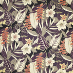 Kamuela (Eggplant) Tropical Floral Fabric