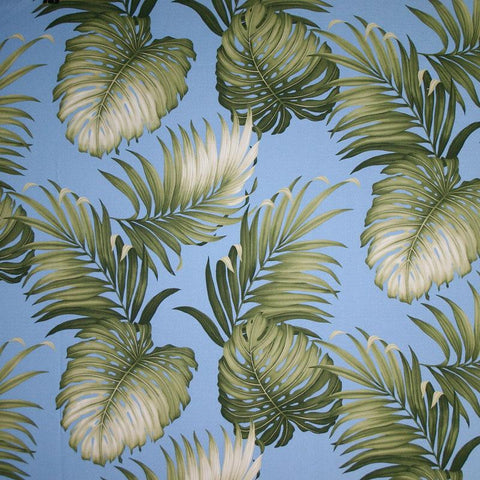 Oasis (Slate) - Tropical Leaf Fabric