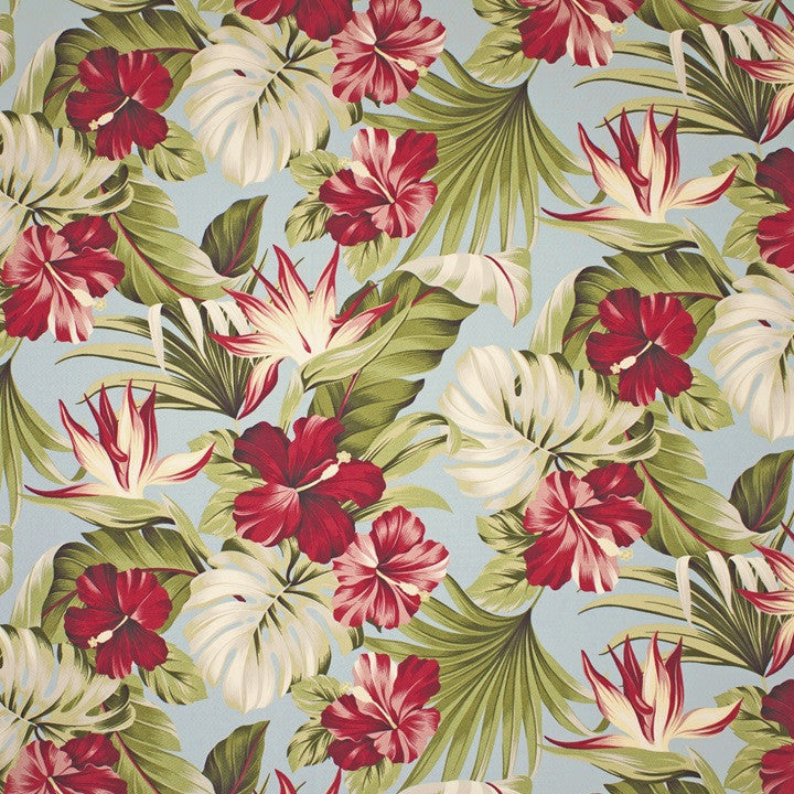 Pua (Slate) Tropical Cotton Fabric