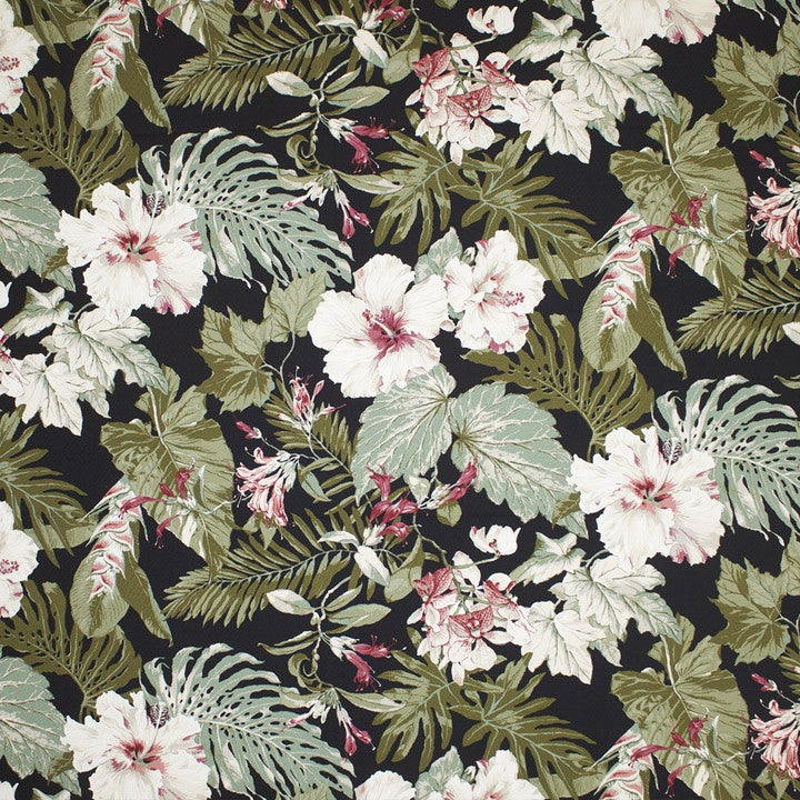 Tropical Garden (Black) Island Floral Fabric