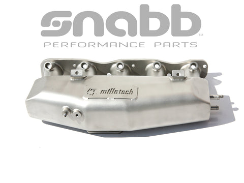 Milletech 316 Stainless Big Plenum Intake Manifold Beadblasted. Manufactured to order.