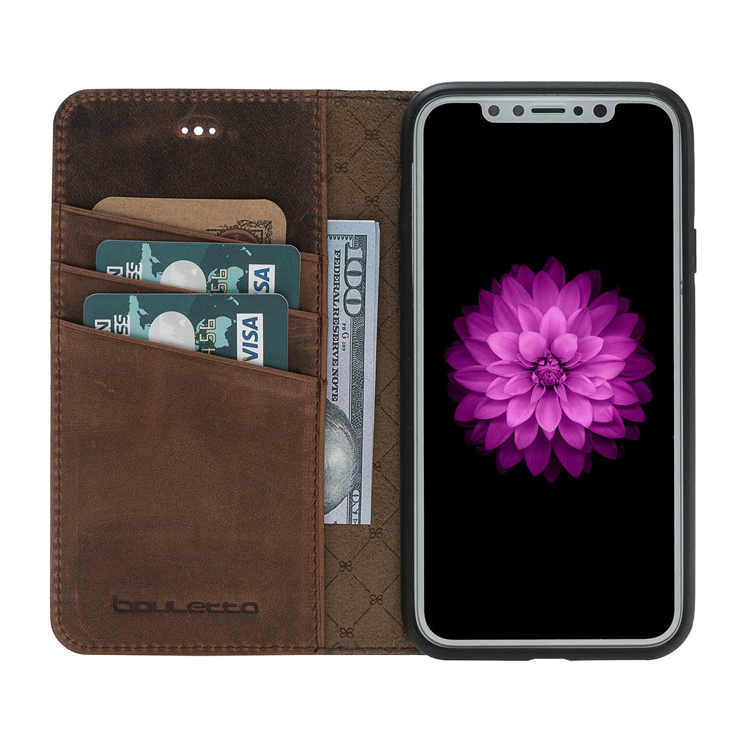 iPhone X Wallet Case, iPhone 10 Genuine Leather Wallet Case with Book Style, Perfect for 3+ Cards and Cash, X Case  in AnticBrown