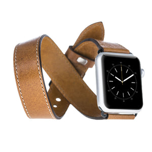 Apple Watch Band Double Tour Genuine Leather Band, Leather Band 38mm 42mm for Series 1 - 2 - 3 in Camel with Black Pins and Clasp