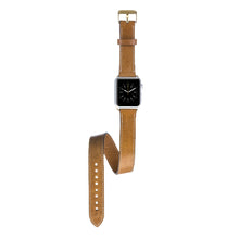 Apple Watch Double Tour Genuine Leather Band Strap, Husband Gift Wife Gift, Apple Watch Leather Band 42mm for Series 1, Series 2, Series 3 in Camel GOLD PINS and CLASP