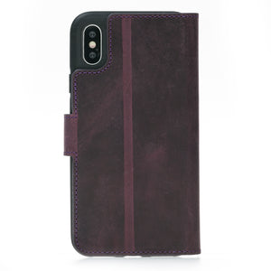 iPhone X Wallet Case, iPhone X Genuine Leather Case with Wallet Style, Perfect for 3+ Cards and Cash, iPhone X Case in AnticPurple