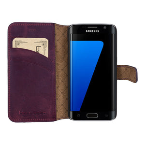 Galaxy S7 / S7 Edge Wallet Case, Samsung Galaxy S7 Edge Leather Case, S7 Best Leather Wallet Case Perfectfor 3+ Cards & Cash, AnticPurple