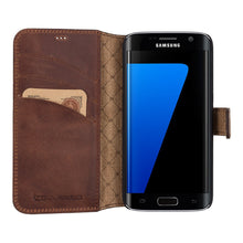 Galaxy S7 / S7 Edge Wallet Case, Samsung Galaxy S7 Edge Leather Case, S7 Best Leather Wallet Case, Perfect for 3+ Cards and Cash, in AnticBrown