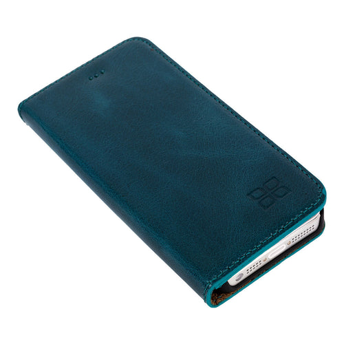 iPhone SE / 5 / 5S Wallet Genuine Leather Case, iPhone SE Leather Wallet Case, Perfect for Essential Cards & Cash, Books Style In Blue