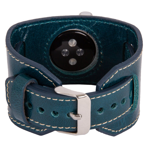 Apple Watch Band Genuine Leather Watch-Cuff Band, Gift, Apple Watch Wide Leather Band 38mm 42mm for Series 1, 2 and 3 in Vessel Blue