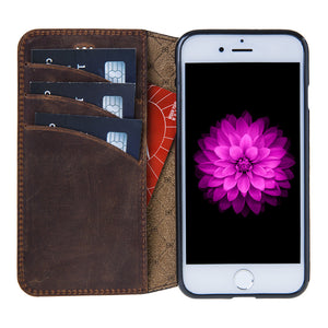iPhone 7  / 8  Wallet Case, iPhone 8 Leather Wallet Case with Book Style, Perfect for 3+ Cards and Cash in AnticBrown
