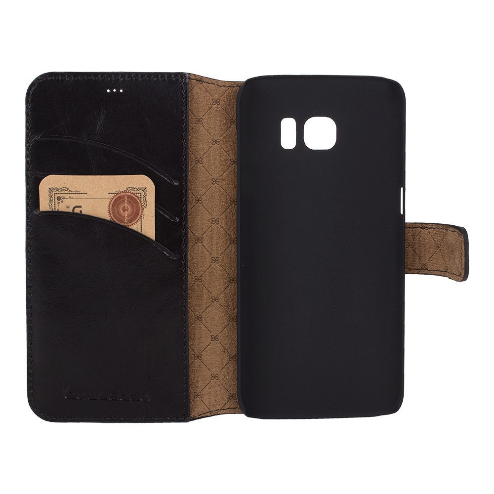 Galaxy S7 Wallet Case, Samsung Galaxy S7 Edge Leather Case, S7 Best Leather Wallet Case, Perfect for 3+ Cards and Cash, RusticBlack