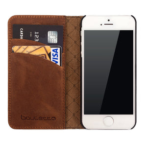 iPhone SE / 5 / 5S Wallet Genuine Leather Case, iPhone SE Leather Wallet Case, Perfect for Essential Cards & Cash, Books Style In AnticBrown
