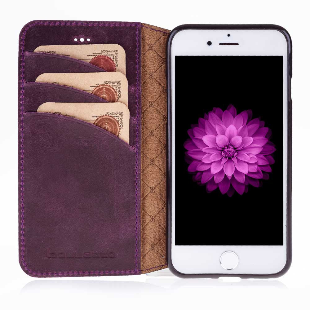 iPhone 7 / 8 Wallet Case, iPhone 8 Leather Wallet Case with Book Style, Perfect for 3+ Cards and Cash, iPhone 7 / 8 Case in AnticPurple