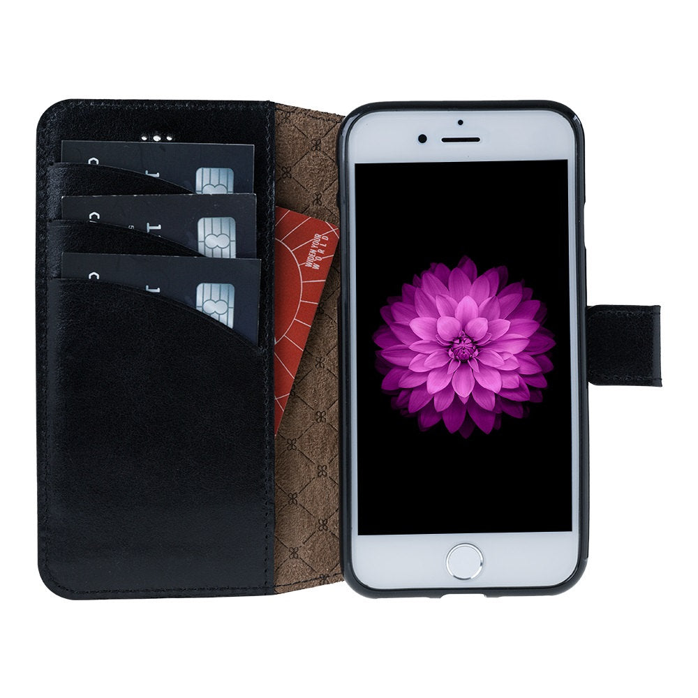 iPhone 8 Plus Wallet Case, iPhone 7 Plus Leather Wallet Case with Magnetic Closure, Perfect for 3+ Cards and Cash in RusticBlack