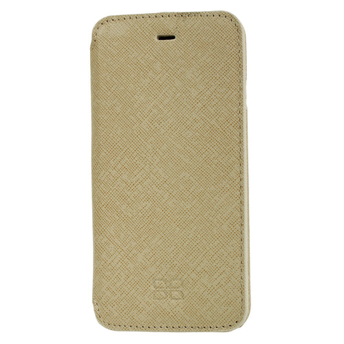 iPhone 6 Wallet Case, iPhone 6S Leather Case, 6S Best Leather Case in Ultimate Book Style, in Beige Leather