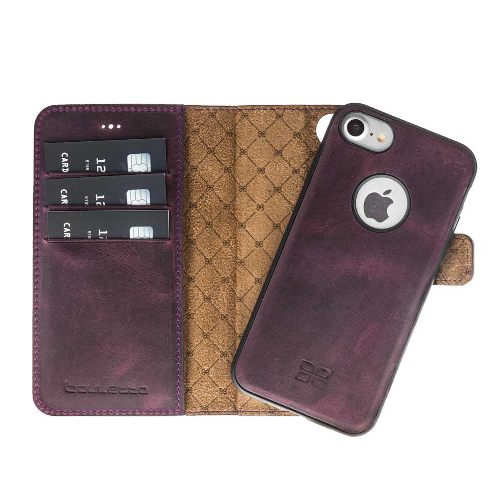 low priced 0c187 aa7c0 iPhone 7 / 8 Detachable Magnet Wallet Case - Snap-on Case (2 Case in 1),  iPhone 8 Leather Case, Perfect for Cards and Cash in AnticPurple