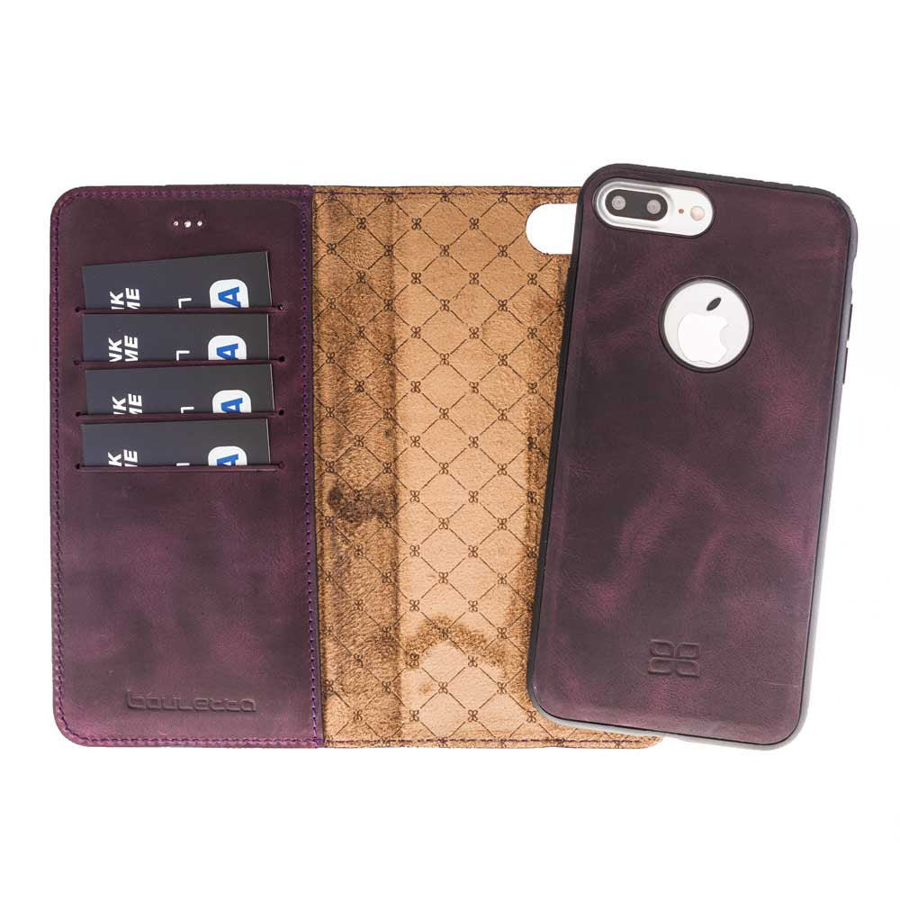best sneakers efa64 5e8b3 iPhone 7 Plus / 8 Plus Detachable Magnet Wallet Case - Snap-on 2 in 1  Genuine Leather Case, Perfect for Cards and Cash in AnticPurple