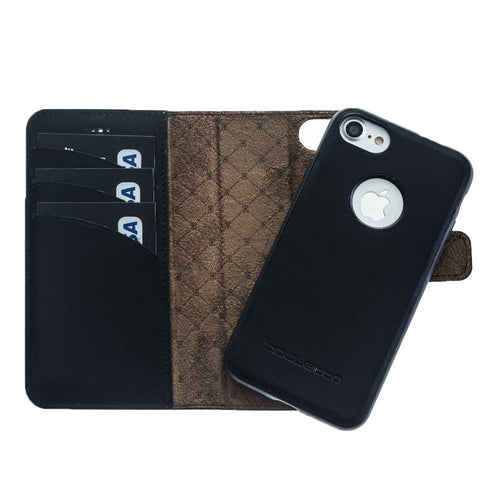 iPhone 7  / 8 Detachable Magnet Wallet Case - Snap-on Case (2 Case in 1), iPhone 7  / 8 Leather Case, Perfect for Cards and Cash in Black