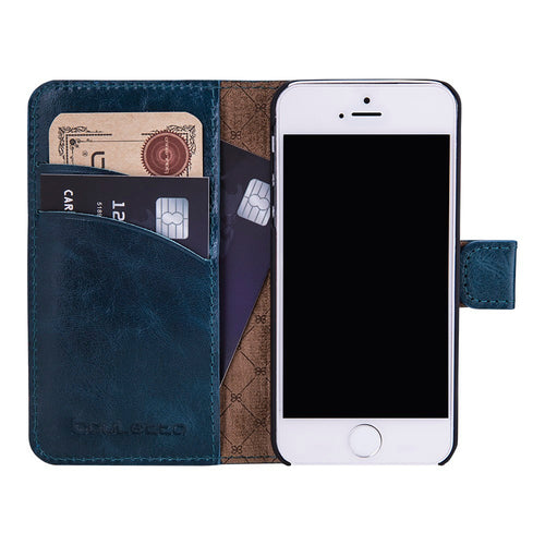 iPhone SE / 5 / 5S Wallet Case, iPhone SE Leather Case, Se Best Leather Case, Perfect for Essential Cards and Cash, In Blue Vessel Leather