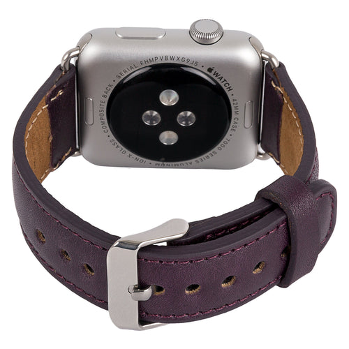 Apple Watch Band Genuine Leather,  Unique Gift, Apple Watch Leather Band 38, 42mm in Plum