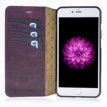 iPhone 7 Plus / 8 Plus Wallet Case, iPhone  8 Plus Genuine Leather  Book Style, Perfect for 3+ Cards and Cash, 7 Plus Case  in AnticPurple