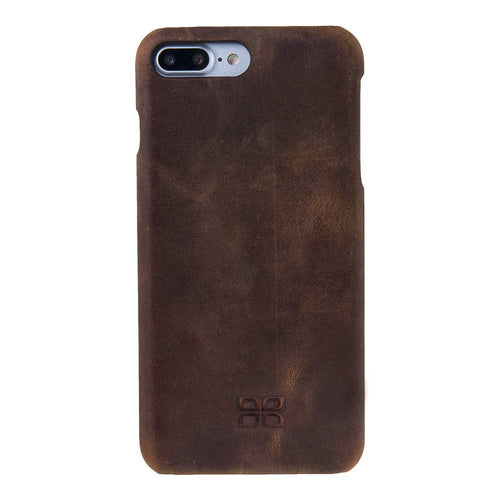iPhone 7 Plus / 8 Plus Case Leather Cover, iPhone 7 Plus / 8 Plus Snap-On Genuine Leather Case in Stylish AnticBrown