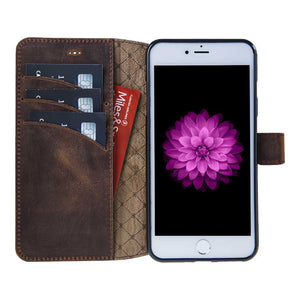 iPhone 7 Plus / 8 Plus Genuine Leather Wallet Case with Magnetic Closure, Perfect for 3+ Cards and Cash in AnticCoffee