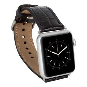 Genuine Leather Band for Apple Watch,  Husband Gift, Apple Watch Leather Band 38 mm, 42mm for 1, 2 and Series 3 in CrokoBlack