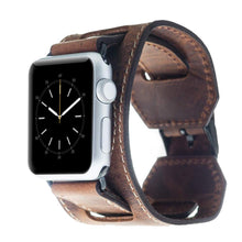 Watch Cuff Band for Apple Watch Genuine Leather, Apple Watch Leather Band 42mm for Series 3, Series 2 and 1 in AnticCoffee BLACK Pins