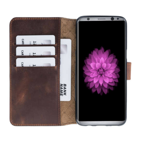 sale retailer 000ff c7dc6 Galaxy S8 Wallet Case, Samsung Galaxy S8/S8+ Genuine Leather Case, Best S8  Plus Case, Perfect for 3+ Cards and Cash in AnticBrown