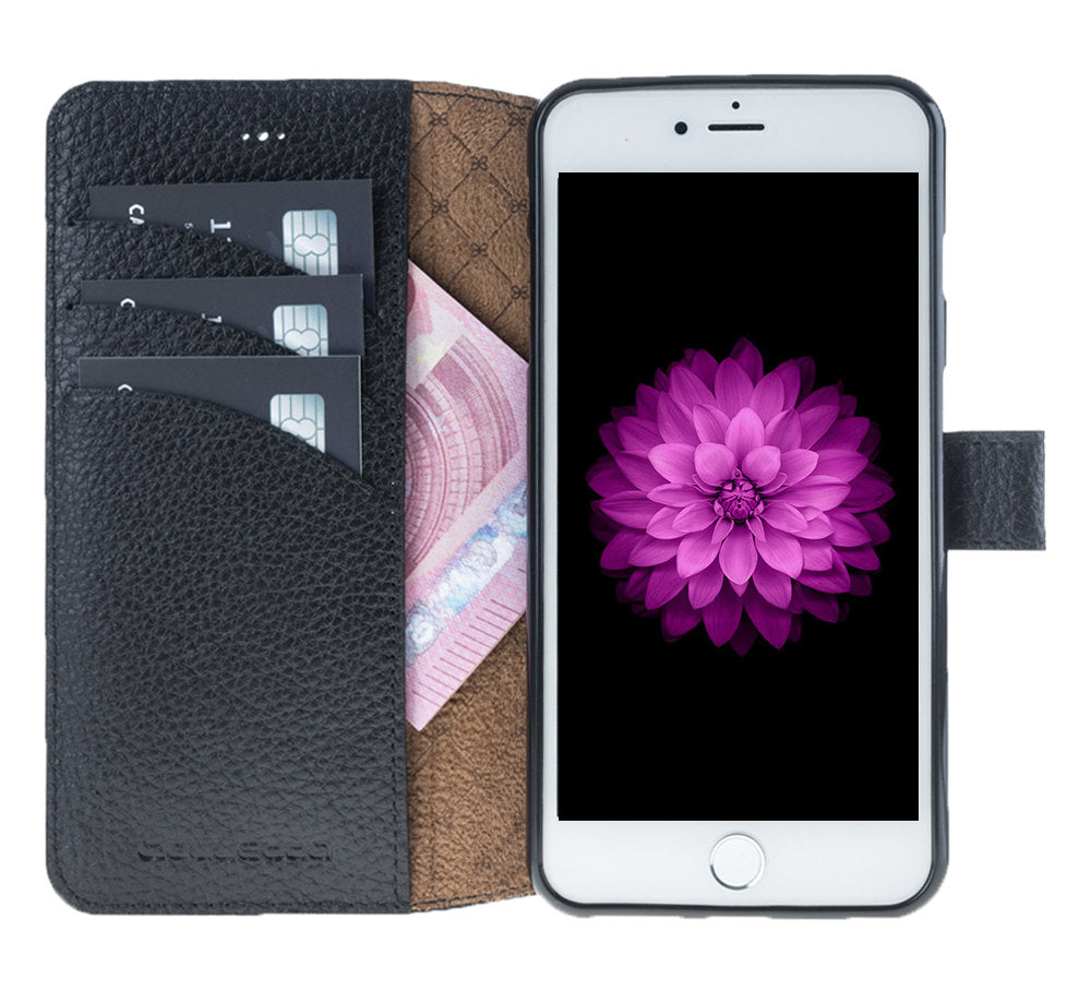 iPhone 7 / 8 Wallet Case, iPhone 8 Leather Wallet Case with Magnetic Closure, Perfect for 3+ Cards and Cash in FloaterBlack