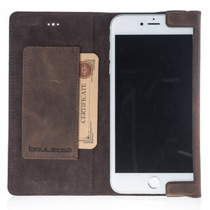 iPhone 7 Plus / 8 Plus Wallet Half Way Case, iPhone 7 Plus Leather Case, Card pocket, Slim Design Made of Full Leather in Antique Coffee