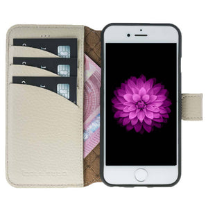 iPhone 6 Plus Wallet Case, iPhone 6S Plus Leather Wallet Case with Magnetic Closure, Perfect for 3+ Cards and Cash in Floater Beige