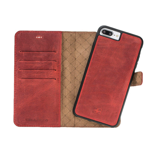 iPhone 7 Plus / 8 Plus Detachable Wallet Case - Snap-on Case (2 Case in 1), Perfect for Cards and Cash, Genuine Leather in Antique Red