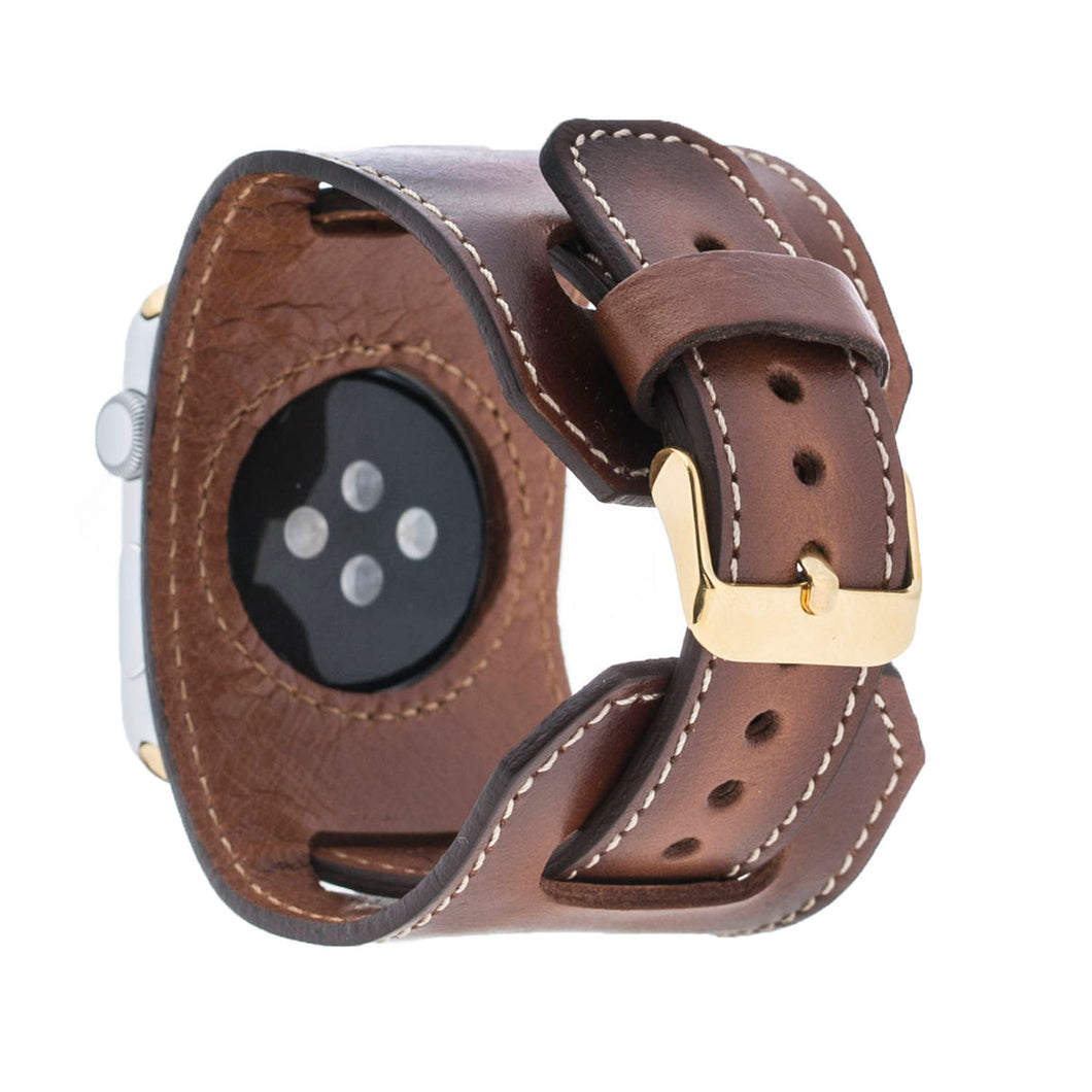 Apple Watch Cuff Band, Genuine Leather Perfect gift for Partner, Apple Watch Wide Strap 38 42mm for Series 3, 2 and 1 in BurnishedTan