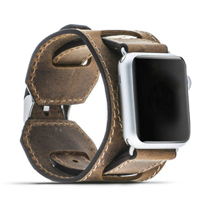 Genuine Leather Watch-Cuff Band for Apple Watch Leather Band 42mm for Series 3, 2 and 1 in Antique Camel