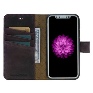 iPhone X Wallet Case  Detachable Case - Snap-on Case (2 Case in 1), iPhone X Leather Case, Perfect for 3+ Cards and Cash in AnticPurple