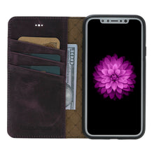 iPhone X Wallet Case, iPhone 10 Genuine Leather Wallet Case with Book Style, Perfect for 3+ Cards and Cash, X Case  in AnticPurple